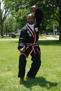Instructor Ben Mitchell in martial art stance