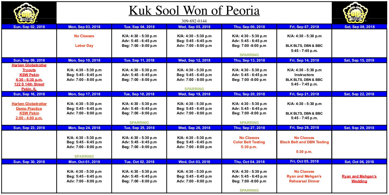 Kuk Sool Won of Peoria Class Calendar