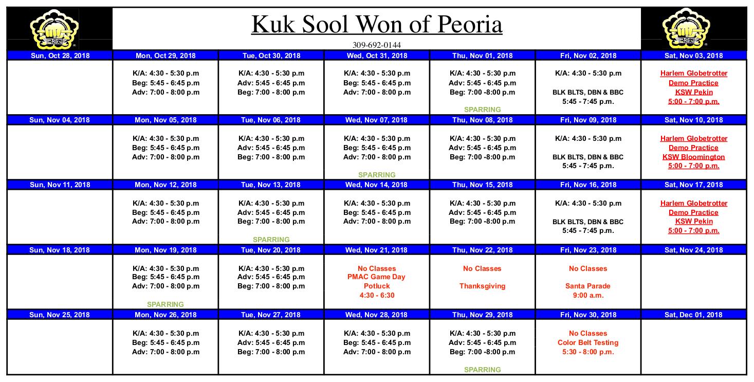 Event Calendar for Kuk Sool Won of Peoria November 2018