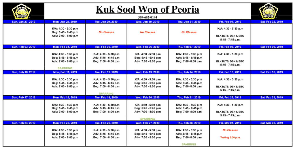 Kuk Sool Won™ of Peoria Class Calendar for February 2019