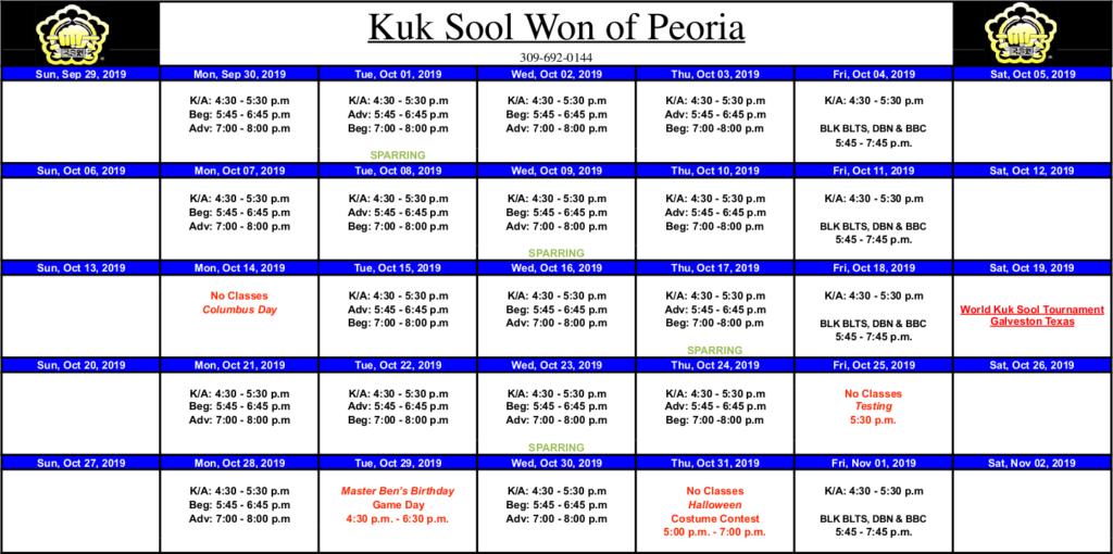 Class Calendar for Kuk Sool Won of Peoria, October 2019.
