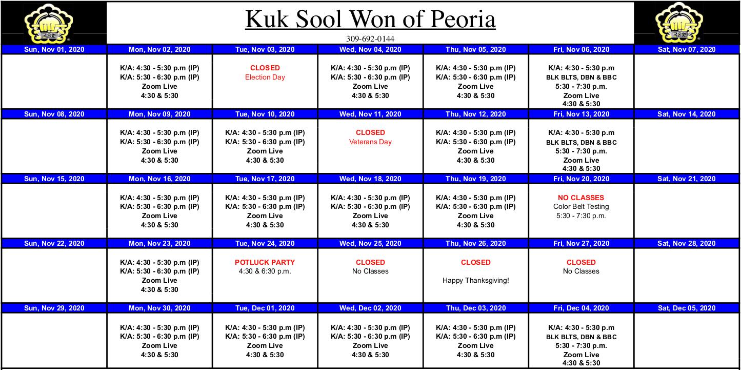 Class Calendar for November 2020